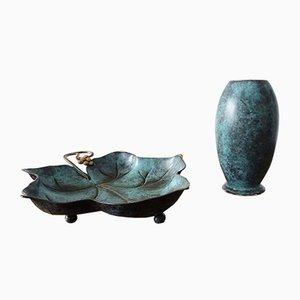 Ikora Schüssel und Vase von WMF, 1930er Jahre, Deutschland, 2er-Set