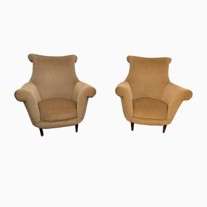 Armchairs with Brass Tips, Italy, 1950s, Set of 2