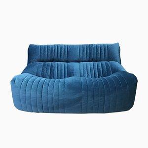 Vintage French Blue 2-Sitzer Aralia Sofa von Ligne Roset, 1980er Jahre