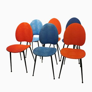 Red and Blue Chairs, 1950s, Set of 6