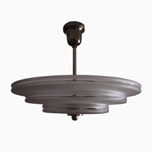 Bauhaus Nickel and Frosted Glass Ceiling Lamp, 1930s