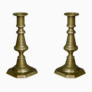 Victorian Brass Candlesticks, Set of 2
