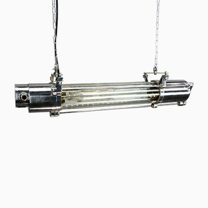 Lampada da soffitto Edison vintage industriale in alluminio a LED in vetro di Aqua Signal, Germania, anni '80