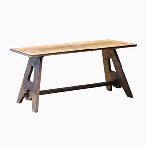 Wooden Foot Trestle Table, 1960s