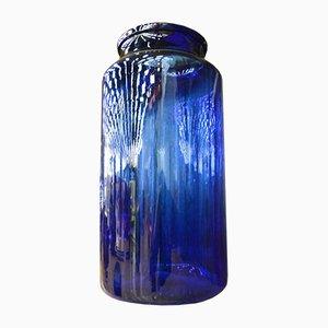 Vase en Verre Bleu Cobalt, 1980s