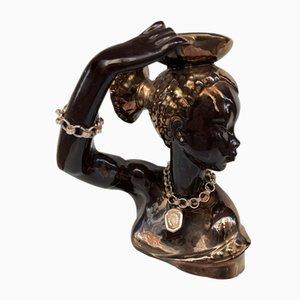 Keramik Figur mit Vintage Schmuck, 1950er