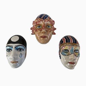 Keramikgesichter, 1950er Jahre, 3er-Set