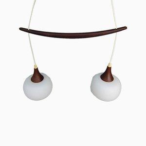 Lampada a sospensione scandinava in teak e vetro opalino, anni '50