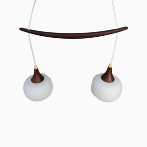 Scandinavian Teak and Opal Glass Suspension Lamp, 1950s
