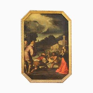 Pintura religiosa italiana antigua al óleo sobre lienzo, siglo XVII