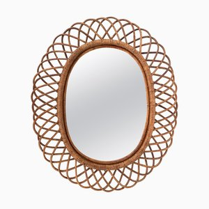 Oval Curved Mirror in Wicker and Bamboo by Franco Albini, 1960s