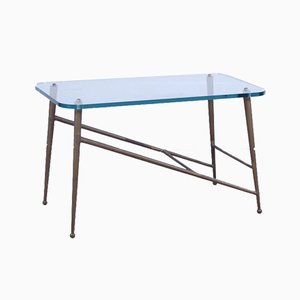Table Basse en Laiton et Verre, 1950s
