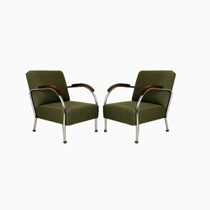 Tubular Steel Armchairs from Wschód, 1940s, Set of 2