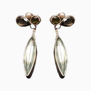 Boucles d'Oreilles en Argent avec Perles Obsidiennes par Tipico pour Jutta Trenker, Set de 2