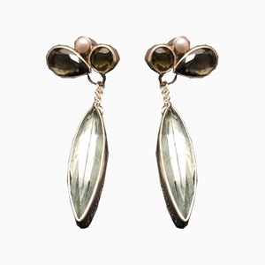 Silberne Ohrringe mit Obsidian Perlen von Tipico für Jutta Trenker, 2er Set