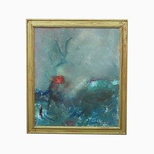 Kai Nielsen, pintura abstracta sueca, óleo sobre lienzo, años 60