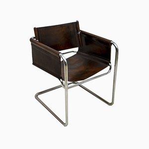 Moderner Mid-Century Bauhaus Armlehnstuhl aus Stahl & Leder, Italien, 1960er