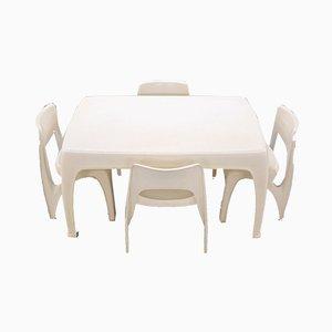 Esszimmerstühle von Preben Fabricius für Interplast, 1973, 5er-Set