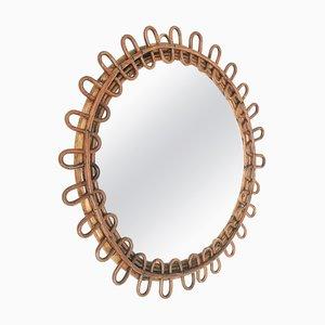 Runder Spiegel aus italienischem Rattan und Bambus aus der Mitte des Jahrhunderts, 1950er Jahre