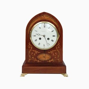 French Belle Epoque Mahogany and Inlaid Mantel Clock, 1900s