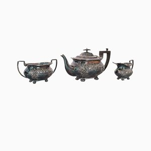 Servizio da tè inglese antico placcato in argento, set di 3