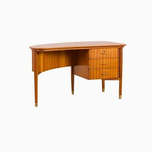 Italian Mahogany Desk with Brass Handles and Feet, 1960s