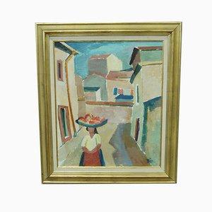 Bertil Johansson-bajo, pintura moderna sueca, óleo sobre tabla, años 50