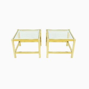 Brass and Glass Side Tables, 1978, France, Set of 2