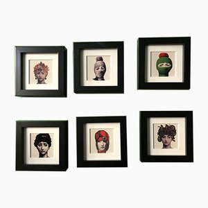 Framed Ceramnics, 1980s, Set of 6