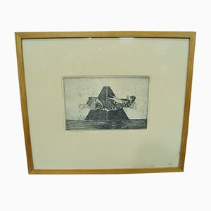 Aguafuerte abstracto de Sven Bunnel, años 50