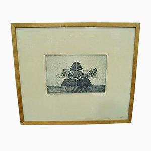 Gravure Abstraite par Sven Bunnel, 1950s
