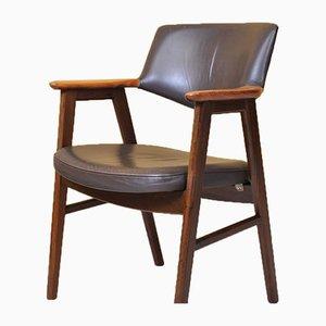 Schreibtischstuhl aus Walnuss und Leder von Erik Kirkegaard für Høng Stolefabrik, 1950er Jahre
