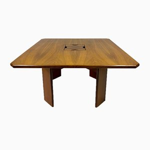 Square Italian Rosewood Dining Table, 1970s