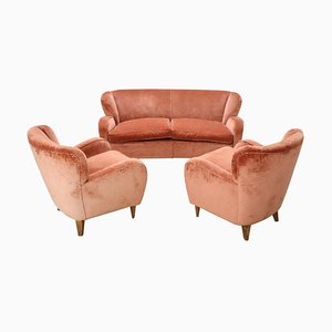 Italian Living Room Set or Salon Suite in Pink Velvet, 1970s, Set of 3