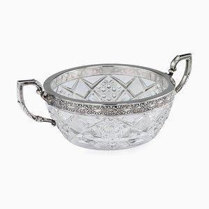 Antike russische silbermontierte Glasschale aus dem 15. Artel, 1910er Jahre