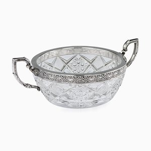 Antique Russian Silver-Mounted Cut Glass Bowl from 15th Artel, 1910s