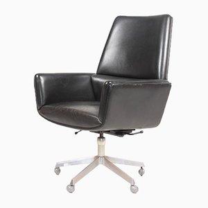 Chaise de Bureau en Cuir Patiné par Finn Juhl pour France & Søn / France & Daverkosen, 1960s