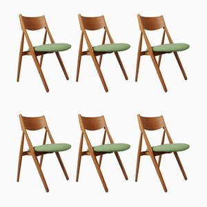 Danish Oak Dining Chairs, 1960s, Set of 6