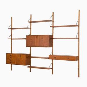 Conjunto de pared de teca con mueble bar, escritorio pequeño y cajonera de Thygesen & Sørensen para Hansen and Guldborg, años 60