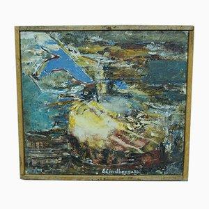 Peinture à l'Huile Abstraite Suédoise par E. Lindberg, 1974