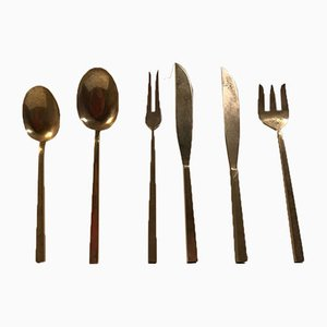Bronze Serving Set by Sigvard Bernadotte for Scanline, 1950s, Set of 6