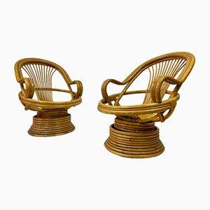 Sillas giratorias italianas de bambú, años 70.Juego de 2