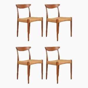 Mid-Century Teak Esszimmerstühle von Arne Hovmand-Olsen für Mogens-Kold 1950er, 4er Set