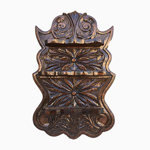 Small Wall Mounted Walnut Carved Shelf, 1940s