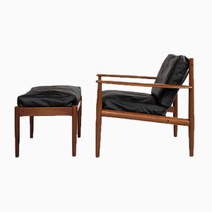Mid-Century Danish Lounge Chair and Ottoman in Teak by Grete Jalk for France & Søn, Set of 2