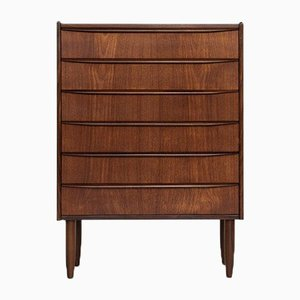 Mid-Century Danish Chest of 6 Drawers in Teak with Long Drawer Handle, 1960s