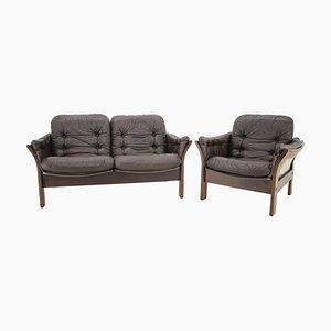 2-Sitzer Sofa & Sessel aus dunkelbraunem Leder von Georg Thams, Dänemark, 1970er Jahre, 2er-Set