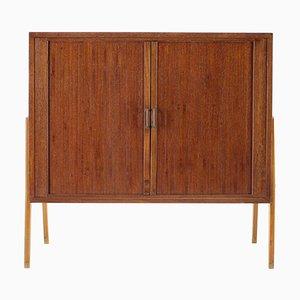 Teak Tambour Door Record Cabinet, Denmark, 1960s