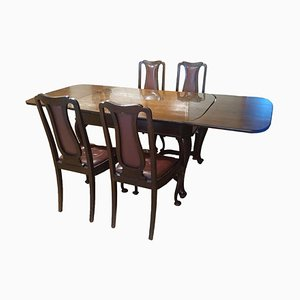 Ensemble table et chaises de salle à manger antiques en bois massif