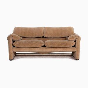 2-Sitzer-Sofa aus Maralunga-Stoff in Braun-Beige von Cassina